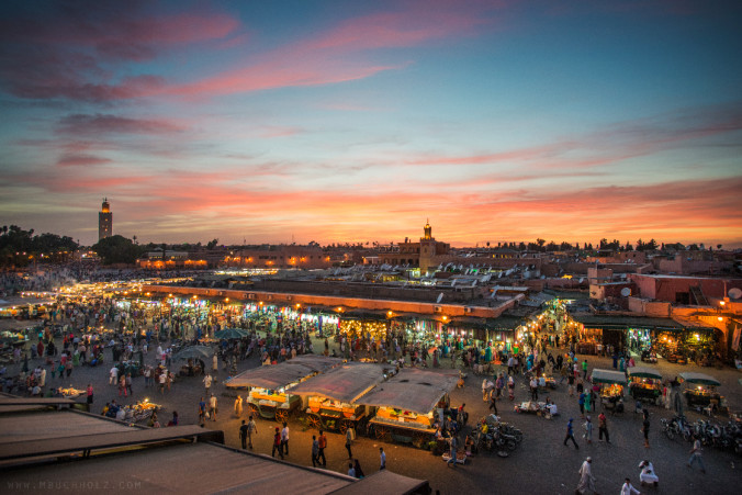 Markets of Morocco at Sunset
