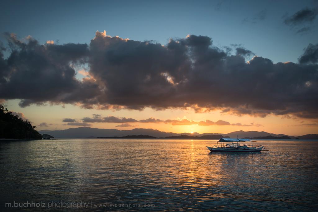 Banca boats at sunset